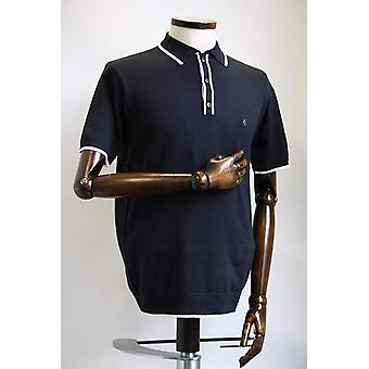 Lineker Navy & White Trim Knitted Polo Shirt
