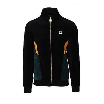 Fila Vintage Fila Lane Col Bloc Velour Track Jacket Black/ Junebug/ Golden Glow
