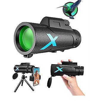 Télescope monoculaire HD 12x50, monoculaire étanche avec support de smartphone et prisme de trépied pour observer les oiseaux Camping Hunting Concert Jeu de balle itinérant, (noir)