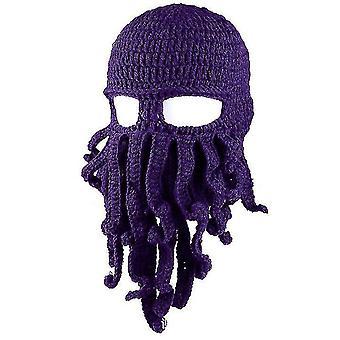 Octopus Hat Funny Masked Handmade Crocheted Woolen Warm hat(Purple)