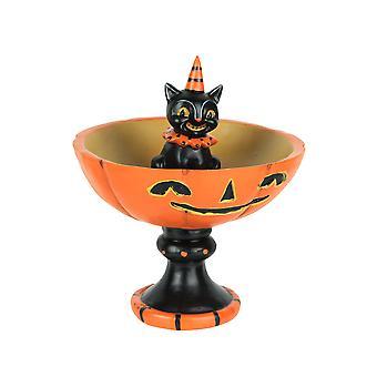 Johanna Parker Vintage Style Black Cat and Pumpkin Halloween Pedestal Trick or Treat Bowl