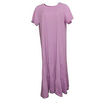 LOGO by Lori Goldstein Dress Cotton Modal Tiered Midi Pink A378828