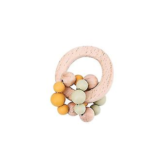 Beech Wooden Rattle Wood Teething Rodent Ring & Silicone Beadss