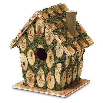 Songbird Valley Knotty Wood Moss-Covered Bird House, Pack of 1
