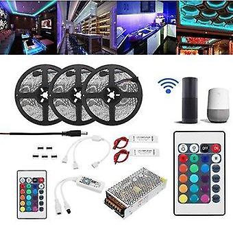 15M 2835 rgb flexible ip65 smart wifi control app led strip light kit work with alexa ac110-240v christmas decorations clearance christmas lights