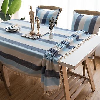 Striped tassel tablecloth blue fabric rectangular table cloth