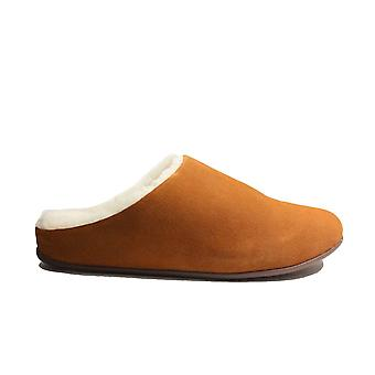 Fitflop Chrissie Shearling Tumbled Tan Suede Leather Womens Slip On Mule Slippers