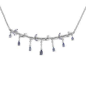 Tansanit Kragen Halskette 925 Sterling Silber Geschenk für Frau / Mutter 18 '' 3.97ct