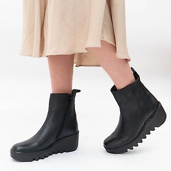 Fly London Bale250fly Ladies Leather Ankle Boots Black