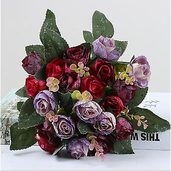 Artificial Bouquet With Artificial Roses,silk Flowers, Ideal As Decoration 2 Pieces Of Pink
