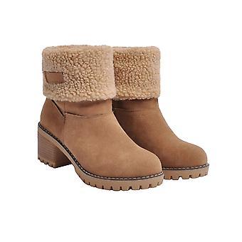أحذية الشتاء المرأة قصيرة الثلج قطيع أحذية الغنيمة الدافئة تنزلق على الكاحل قصيرة مكتنزة كعب الأحذية