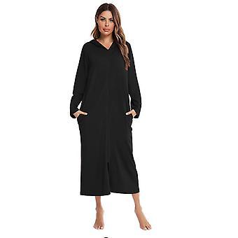 Dames Supersoft Katoenen Zip Up Pyjama Home Nightdress
