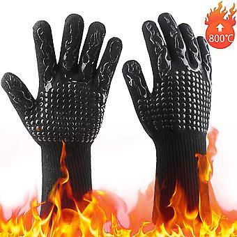 Bbq rukavice, teplé rukavice, zimní rukavice, zahradnické rukavice, venkovní rukavice, vysokoteplotní bavlněné rukavice, Opařka hoření, Černá