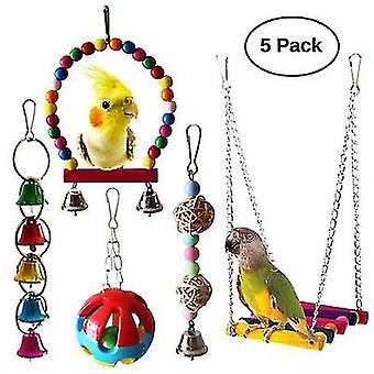 5-pack Птичьи игрушки Попугаи Клетка Висячие качели Набор игрушек