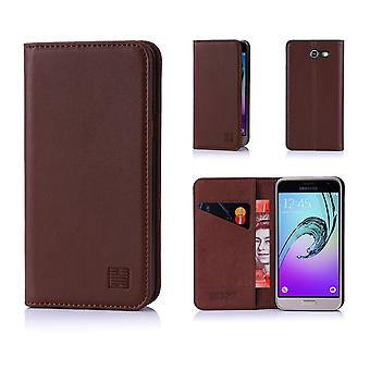 32nd Classic Real Leather Wallet for Samsung Galaxy J3 (2017) J327P - Dark Brown