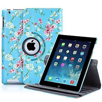 32e floral Design 360 case voor Apple iPad 2 3 4 - voorjaar blauw