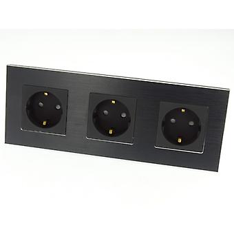 I LumoS Luxury Black Brushed Aluminium Frame Schuko EU 16A German Triple Socket