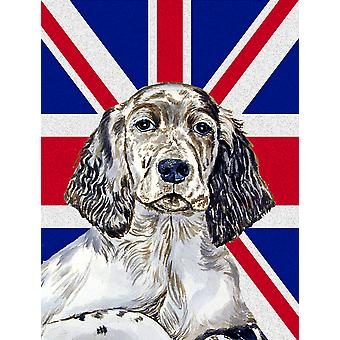 English Setter with English Union Jack British Flag Flag Canvas House Size