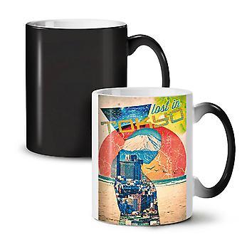 Lost Urban Japan Tokyo NEW Black Colour Changing Tea Coffee Ceramic Mug 11 oz | Wellcoda