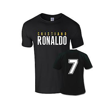Cristiano Ronaldo Front naam T-shirt (zwart) - Kids
