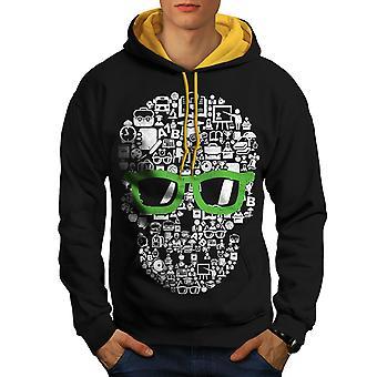 Swag Cool Head Face Skull Men Black (Gold Hood)Contrast Hoodie | Wellcoda