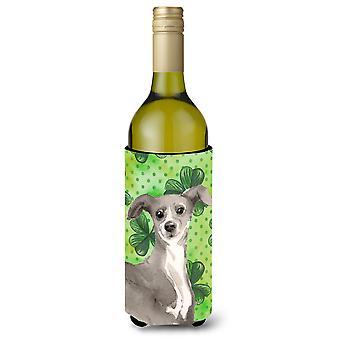 Garrafa de vinho de italiano Greyhound St. Patrick Beverge isolador Hugger