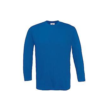 B&C Mens Exact Plain Long Sleeve Crew Neck T-Shirt
