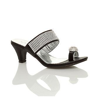 Ajvani womens platform lage midden hak peep teen teen post partij diamante sandalen mule schoenen