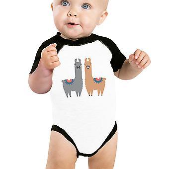 Lama Muster Baby Raglan Shirt