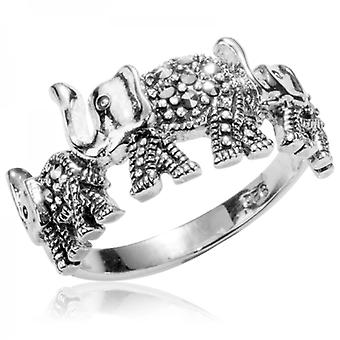 Shipton and Co Ceremonial Elephant Ring In Sparkling Marcasite