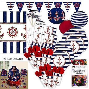 Ozdoba party port Marine sailor zestaw XL zestaw 97 sztuk dla 8 pakietu strony portu Hamburg Gości