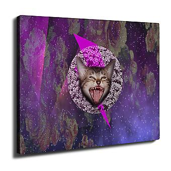 Abstract Cute Funny Cat Wall Art Canvas 40cm x 30cm   Wellcoda