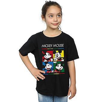 Disney Girls Mickey Mouse Square Colour T-Shirt