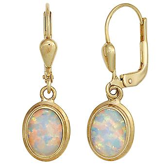 Opal earrings boutons 333 Gold Yellow Gold 2 opal earrings
