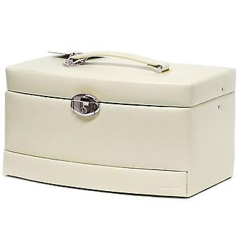 Gioielleria gioielli beige caso scatola scatola con specchio e custodia da viaggio