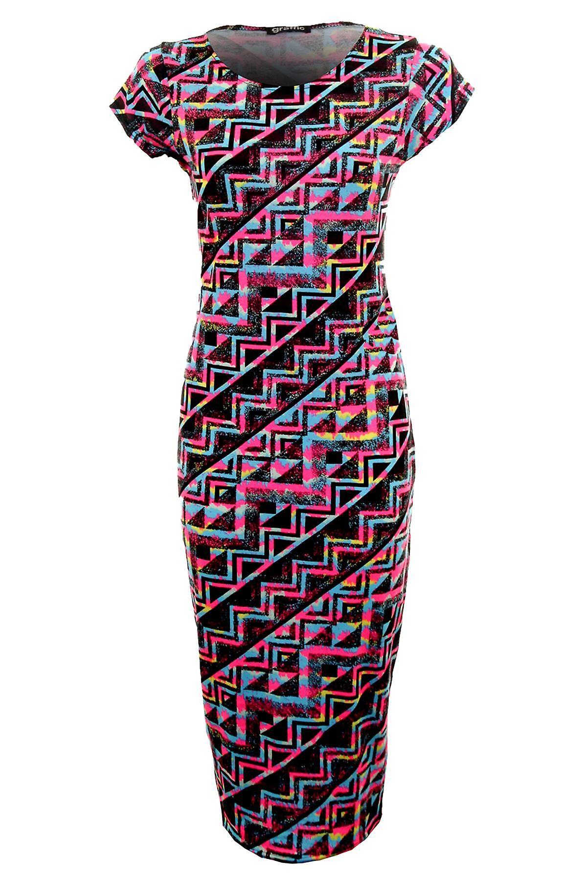 Hyvät Celeb Aztec kukka Leopard Splash kesän naisten Midi Bodycon mekko