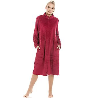 Camille Womens Soft Fleece Ruby Red Zip Front House Coat