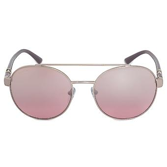 Bvlgari runda solglasögon BV6085B 20217E 55 | Silver metall ram | Rosa linser