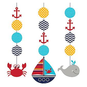 Small sailor hanging decoration elements 3 piece sailor party birthday decoration