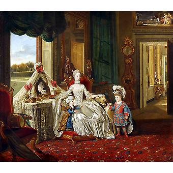 彼女のドレッシングテーブルで女王シャーロット、ヨハン・ゾファニー、60x50cm