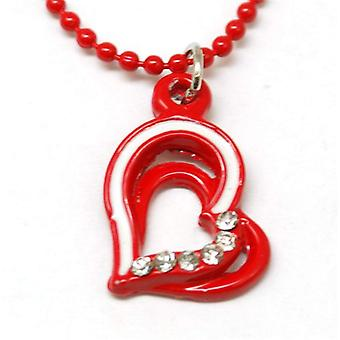 "The Olivia Collection Kids Enamel Pendant & 16"" Ball Chain Red Heart"