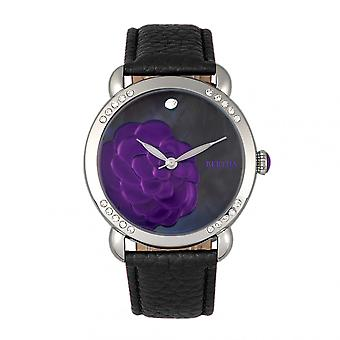 Bertha Daphne MOP Leather-Band Ladies Watch - Black