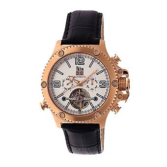 Reign Goliath Automatic Leather-Band Watch - Rose Gold/Silver