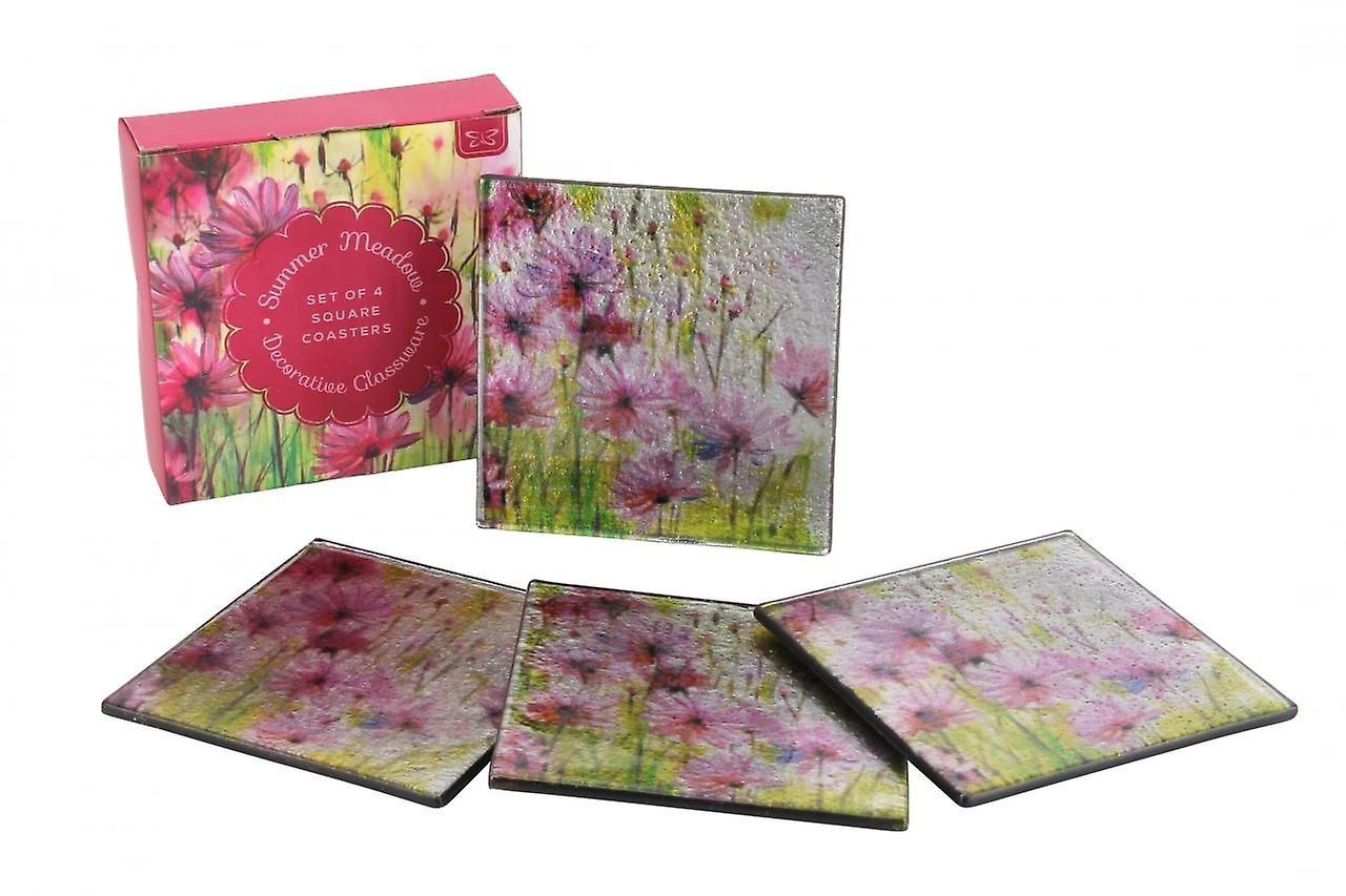 Summer Meadow Decorative Glassware Square Glass Coaster Set of 4