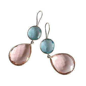 Orecchini Gemshine rosa quarzo e topas blu gocce in 925 argento o oro placcato
