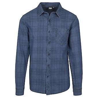 Urban classics men's long-sleeve shirt printed check denim