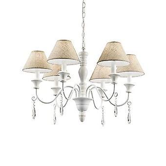 Ideel Lux - Provence hvid træ seks lys lysekrone med Beige nuancer IDL003399