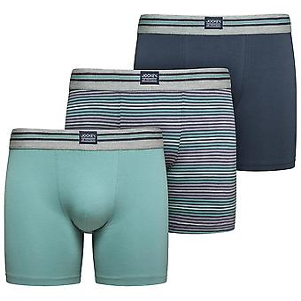 Jockey Cotton Stretch 3-Pack Boxer Trunks, Mineral Blue / Navy / Stripe, Small