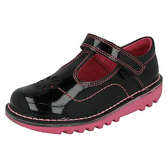 Noworodków Girls Kickers Glitter T-Bar płaskie buty Kick T płatek