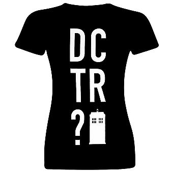 Women's Doctor Who DCTR? Black Fitted T-Shirt